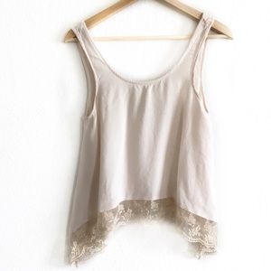 American Eagle cream lace embellished tank XS
